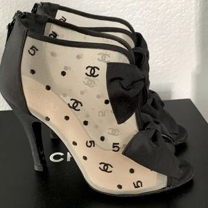 Chanel Black CC mesh logo open toe ankle booties